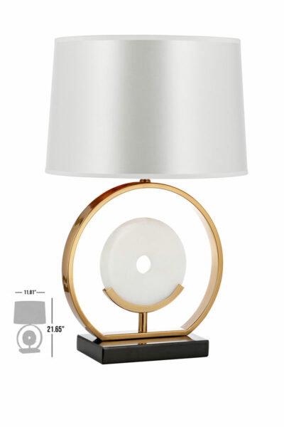 biesca marble bronze luxury table lamp with gray lamp shade