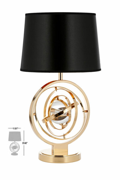 burgos one ball gold luxury table lamp with black lamp shade
