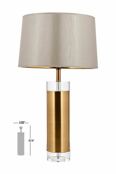 rosario crystal cylinde bronze table lamp